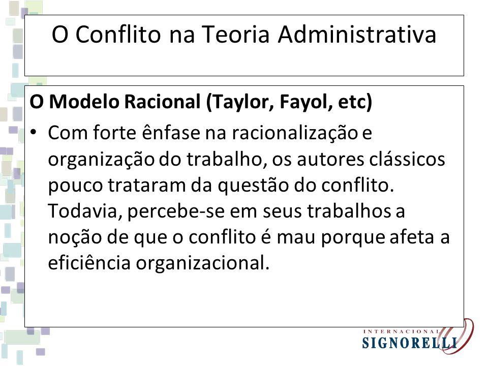 O Conflito na Teoria Administrativa O Modelo Racional (Taylor, Fayol, etc) Com forte ênfase na racionalização e organização do trabalho, os autores cl