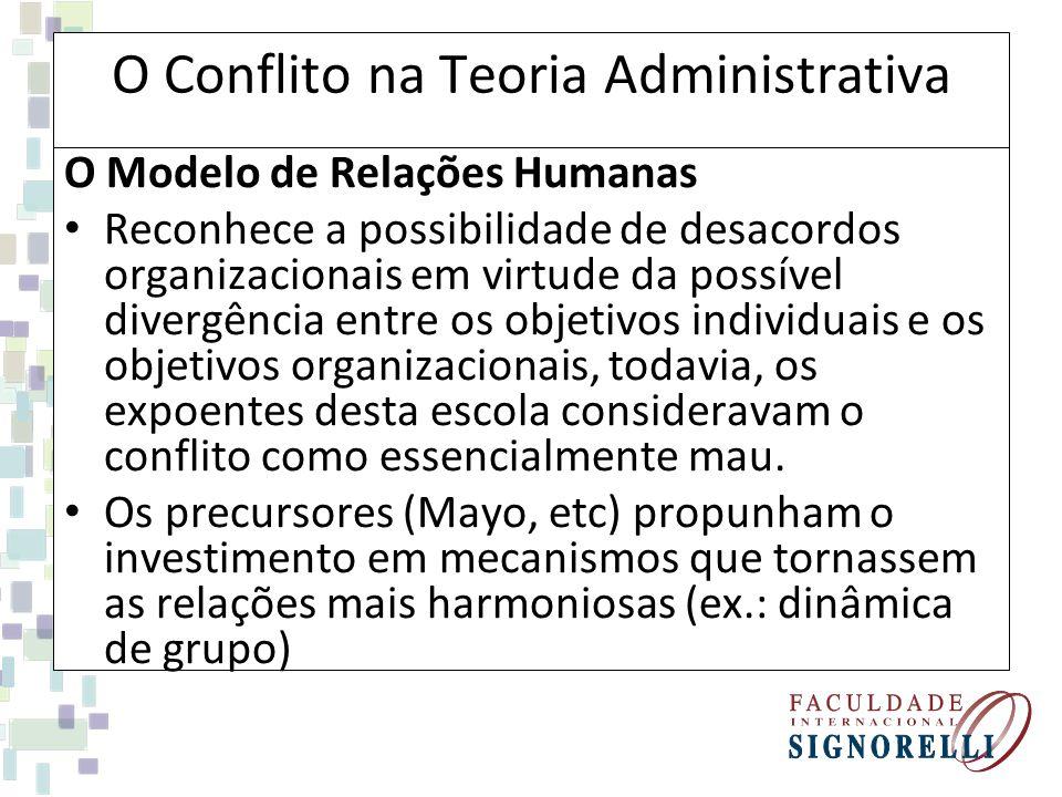 O Conflito na Teoria Administrativa O Modelo de Relações Humanas Reconhece a possibilidade de desacordos organizacionais em virtude da possível diverg