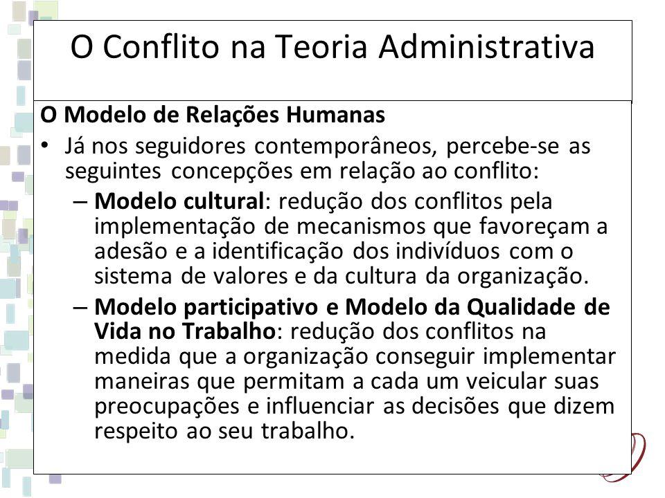 O Conflito na Teoria Administrativa O Modelo de Relações Humanas Já nos seguidores contemporâneos, percebe-se as seguintes concepções em relação ao co