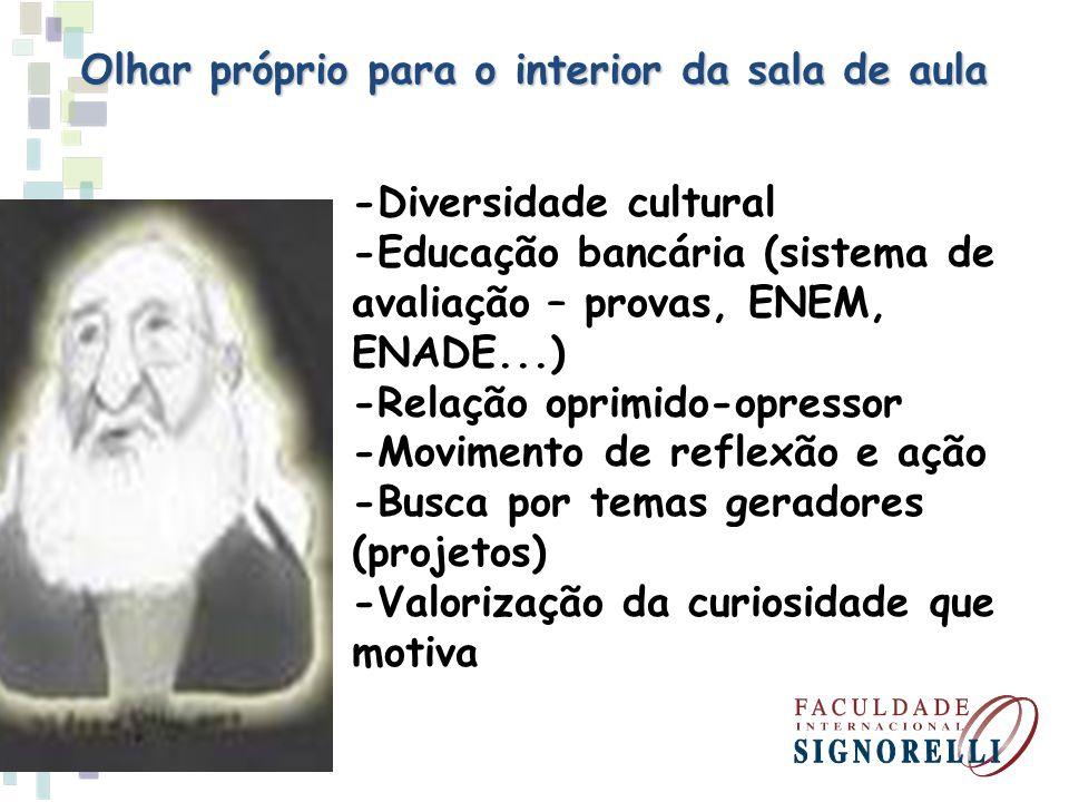 Olhar próprio para o interior da sala de aula -Diversidade cultural -Educação bancária (sistema de avaliação – provas, ENEM, ENADE...) -Relação oprimi