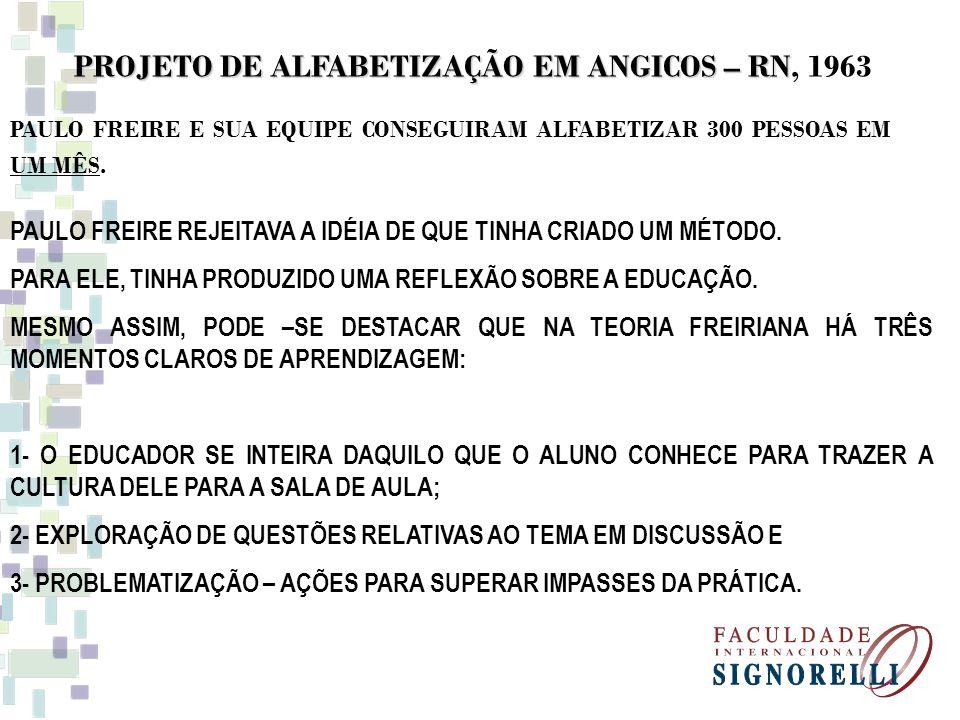 PRESSUPOSTOS DO MÉTODO PAULO FREIRE DE ALFABETIZAÇÃO - VALORIZAÇÃO DA CULTURA; - - HOMEM É UM SER HISTÓRICO E, PORTANTO, INACABADO; - EDUCAR PARA A CONSCIENTIZAÇÃO; - LER A PALAVRA PARA LER O MUNDO, COMPREENDENDO SUA CONDIÇÃO DE OPRIMIDO; - BINÔMIO: EDUCADOR-EDUCANDO, EDUCANDO-EDUCADOR - RELAÇÕES AFETIVAS, DEMOCRÁTICAS E OMBREADAS.