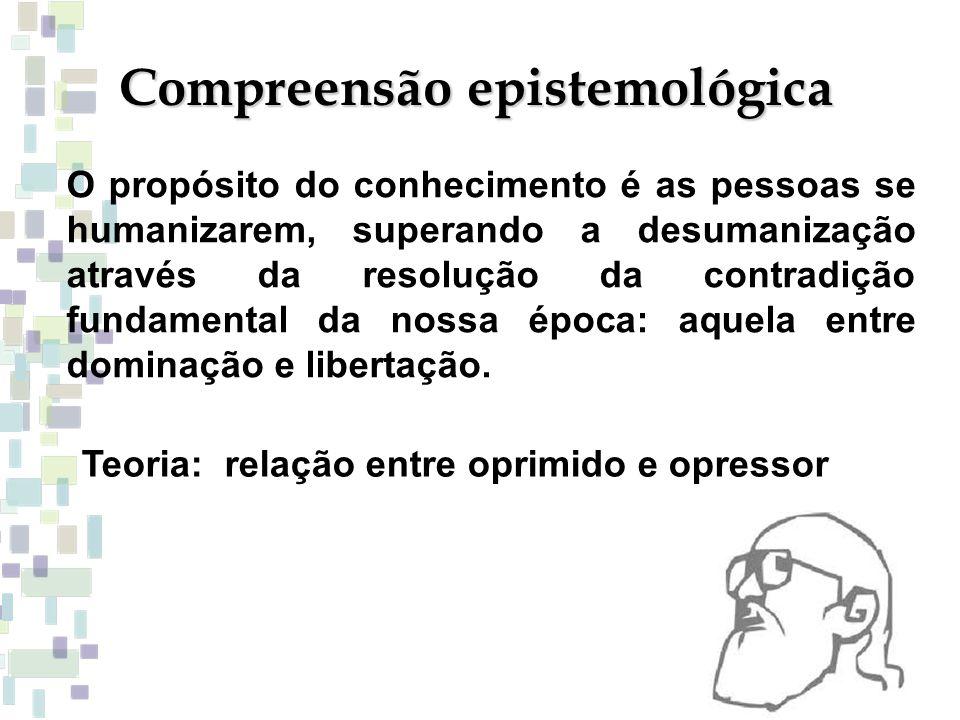 Compreensão epistemológica O propósito do conhecimento é as pessoas se humanizarem, superando a desumanização através da resolução da contradição fund