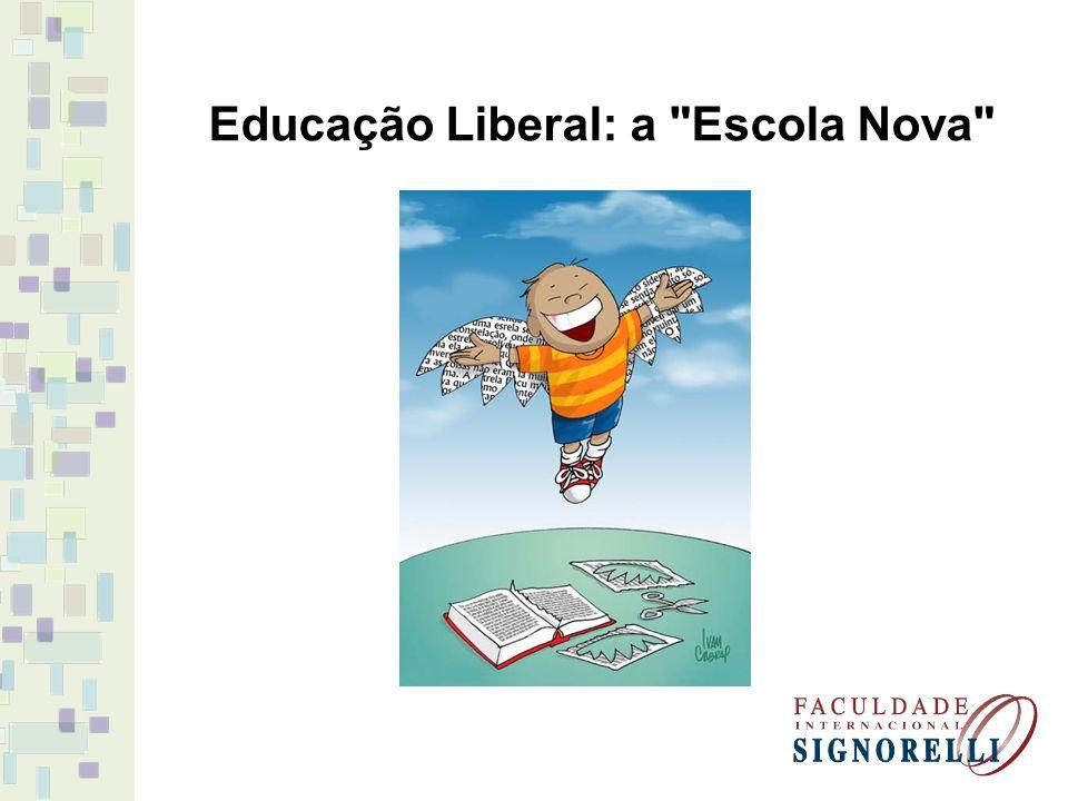 Décadas de 20 e 30 = várias discussões sobre educação e pedagogia; PEDAGOGIA TRADICIONAL X ESCOLA NOVA Os liberais democráticos eram os simpatizantes da Escola Nova voltados à democratização e transformação da sociedade através da escola.