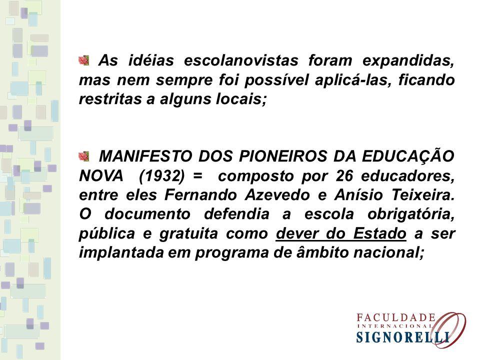 As idéias escolanovistas foram expandidas, mas nem sempre foi possível aplicá-las, ficando restritas a alguns locais; MANIFESTO DOS PIONEIROS DA EDUCA