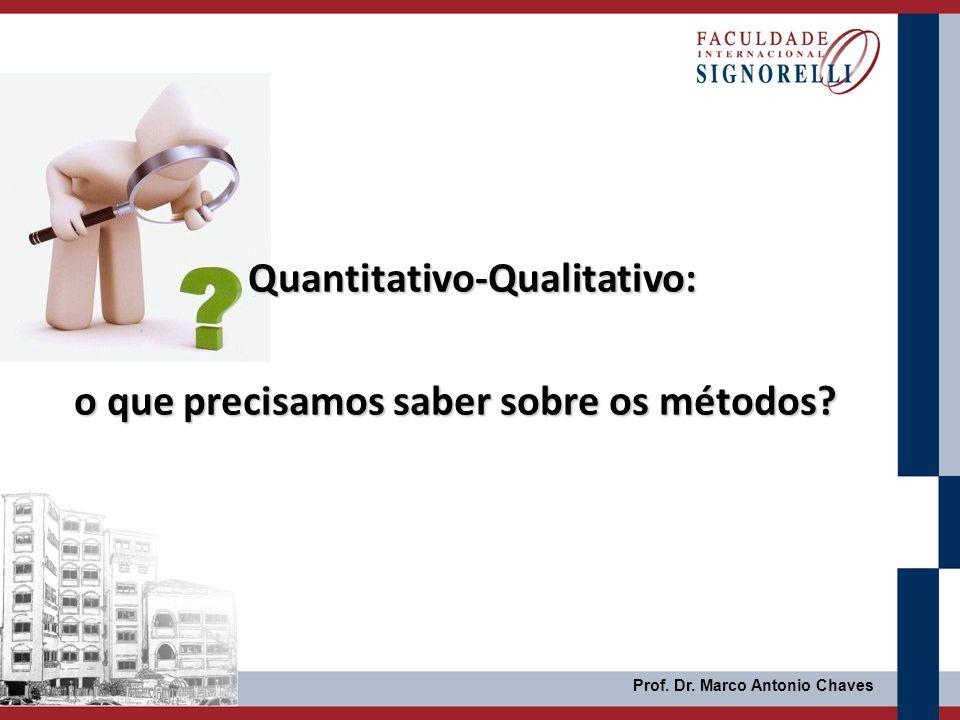 Quantitativo-Qualitativo: o que precisamos saber sobre os métodos? Prof. Dr. Marco Antonio Chaves
