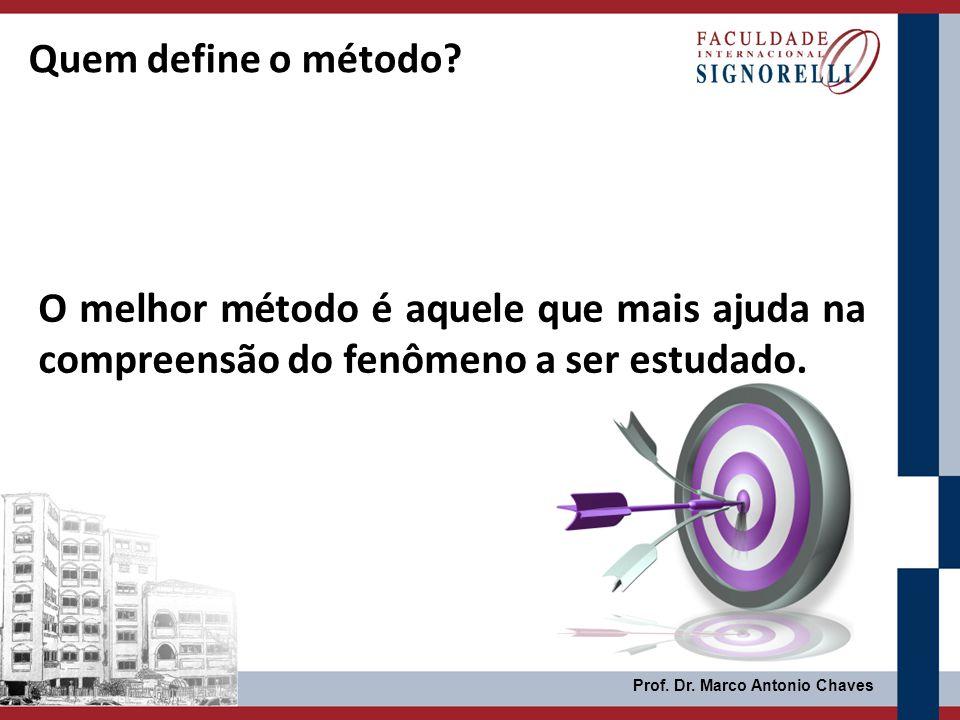 Prof. Dr. Marco Antonio Chaves O melhor método é aquele que mais ajuda na compreensão do fenômeno a ser estudado. Quem define o método?