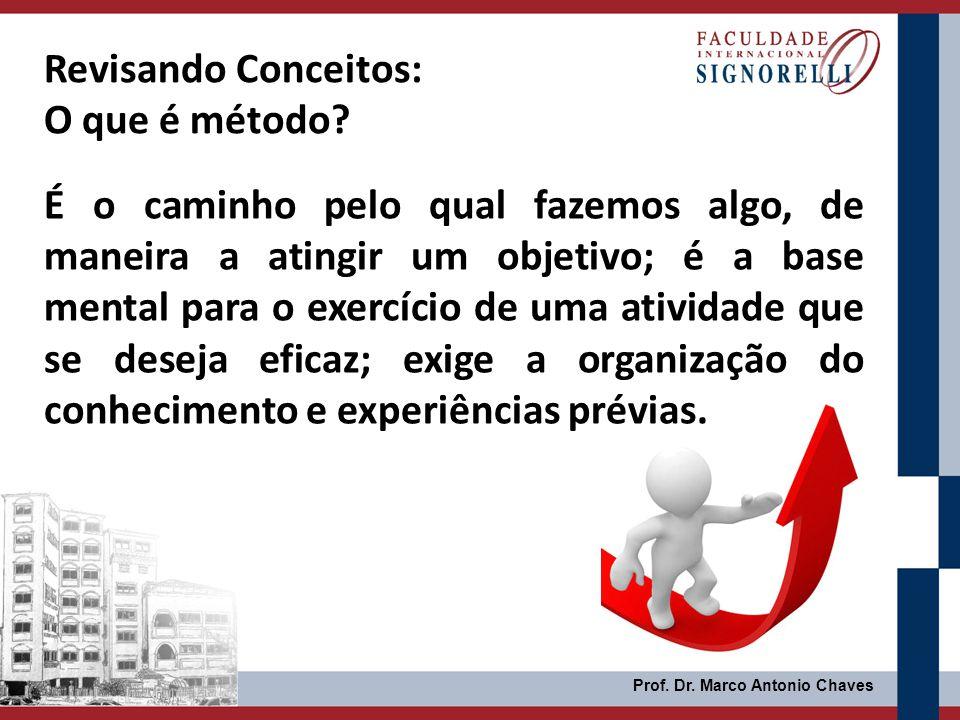 Prof. Dr. Marco Antonio Chaves É o caminho pelo qual fazemos algo, de maneira a atingir um objetivo; é a base mental para o exercício de uma atividade