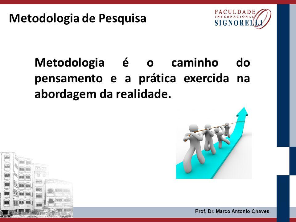 Prof. Dr. Marco Antonio Chaves Metodologia de Pesquisa Metodologia é o caminho do pensamento e a prática exercida na abordagem da realidade.