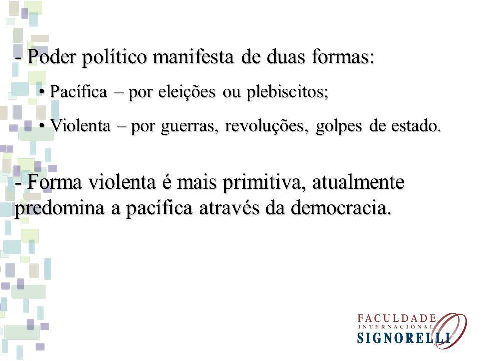 - Poder político manifesta de duas formas: Pacífica – por eleições ou plebiscitos; Pacífica – por eleições ou plebiscitos; Violenta – por guerras, revoluções, golpes de estado.