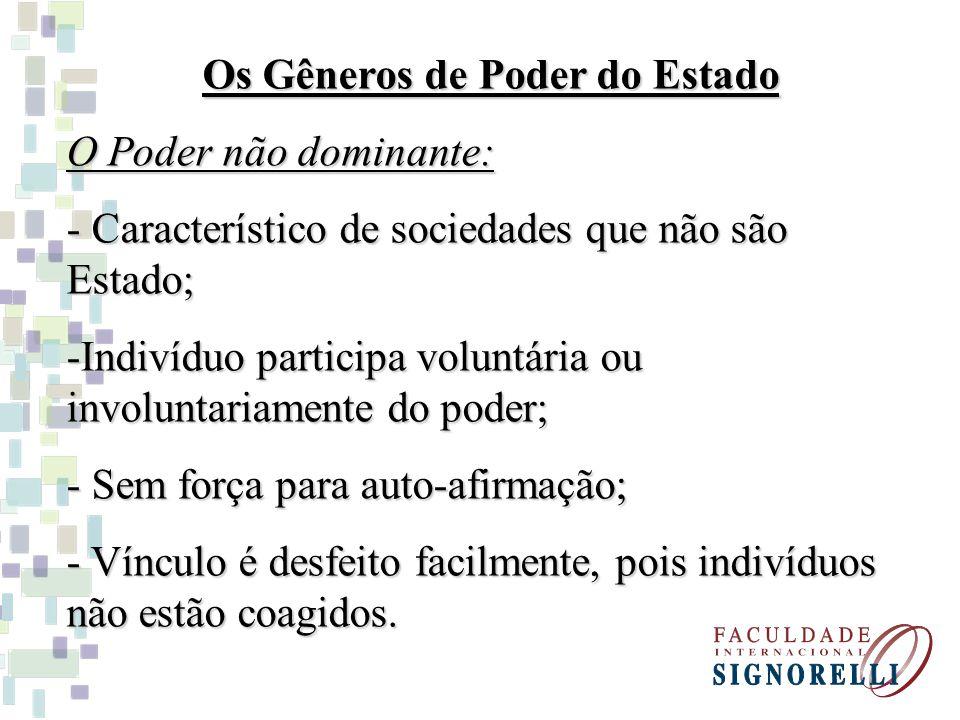 Os Gêneros de Poder do Estado O Poder não dominante: - Característico de sociedades que não são Estado; -Indivíduo participa voluntária ou involuntari