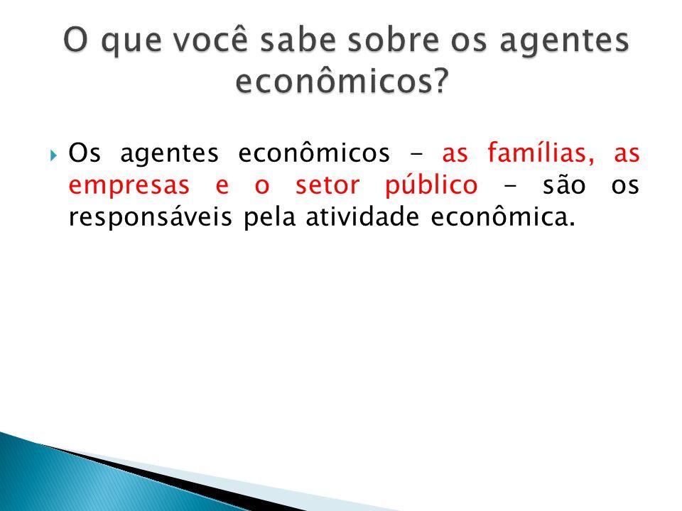Os agentes econômicos - as famílias, as empresas e o setor público - são os responsáveis pela atividade econômica.