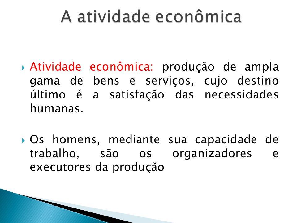 Atividade econômica: produção de ampla gama de bens e serviços, cujo destino último é a satisfação das necessidades humanas. Os homens, mediante sua c