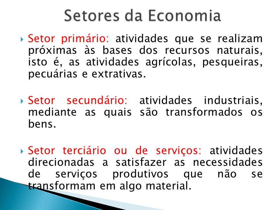Setor primário: atividades que se realizam próximas às bases dos recursos naturais, isto é, as atividades agrícolas, pesqueiras, pecuárias e extrativa