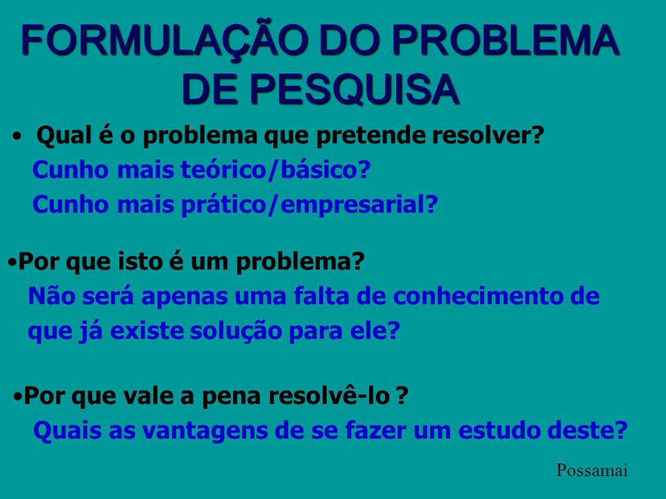 1-PROBLEMA O problema é o ponto de partida da pesquisa. (Apostila LED, p. 77) A pesquisa é realizada quando se tem um problema e não se têm informaçõe