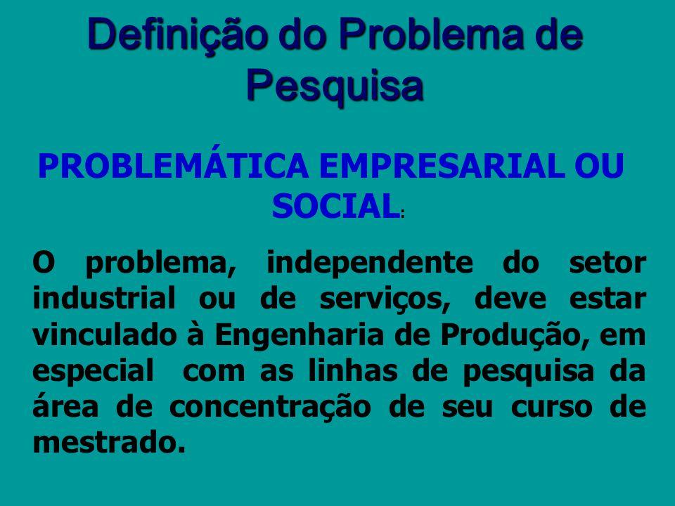 FORMULAÇÃO DO PROBLEMA DE PESQUISA Qual é o problema que pretende resolver? Cunho mais teórico/básico? Cunho mais prático/empresarial? Por que isto é