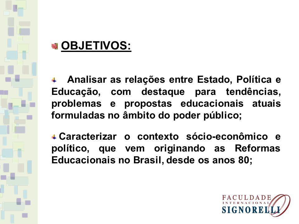 OBJETIVOS: Analisar as relações entre Estado, Política e Educação, com destaque para tendências, problemas e propostas educacionais atuais formuladas