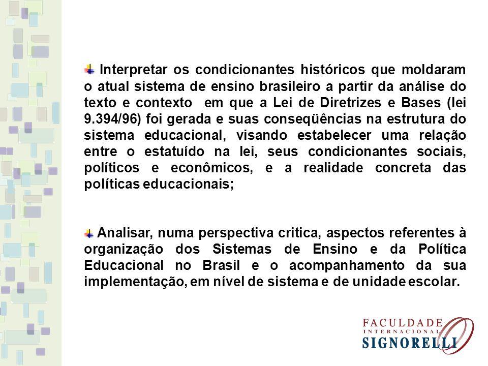 Interpretar os condicionantes históricos que moldaram o atual sistema de ensino brasileiro a partir da análise do texto e contexto em que a Lei de Dir