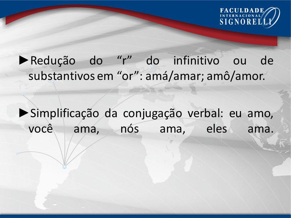 Assimilação do ndo em no( falano/falando) ou do mb em m (tamém/também). Desnasalização das vogais postônicas: home/homem. Redução do e ou o átonos: ov