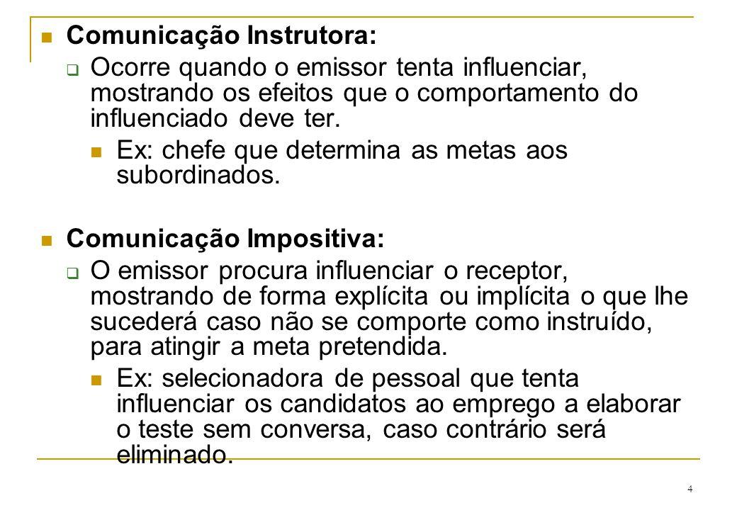 Comunicação Instrutora: Ocorre quando o emissor tenta influenciar, mostrando os efeitos que o comportamento do influenciado deve ter. Ex: chefe que de