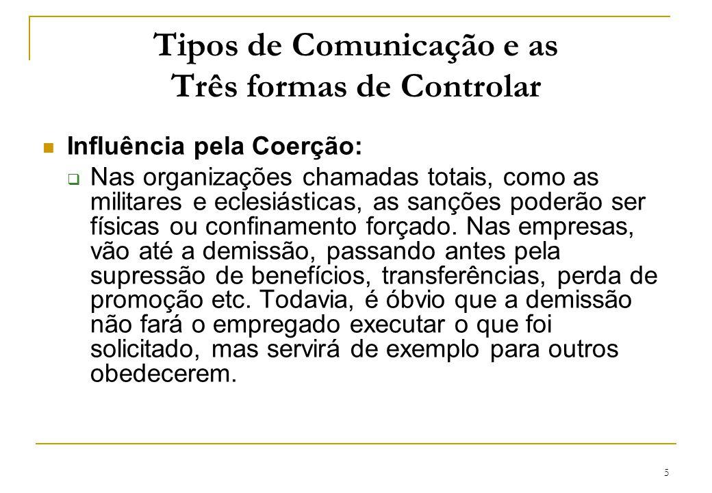 5 Tipos de Comunicação e as Três formas de Controlar Influência pela Coerção: Nas organizações chamadas totais, como as militares e eclesiásticas, as