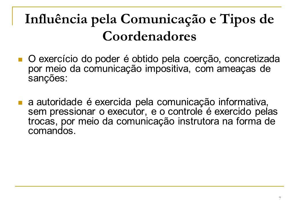 7 Influência pela Comunicação e Tipos de Coordenadores O exercício do poder é obtido pela coerção, concretizada por meio da comunicação impositiva, co