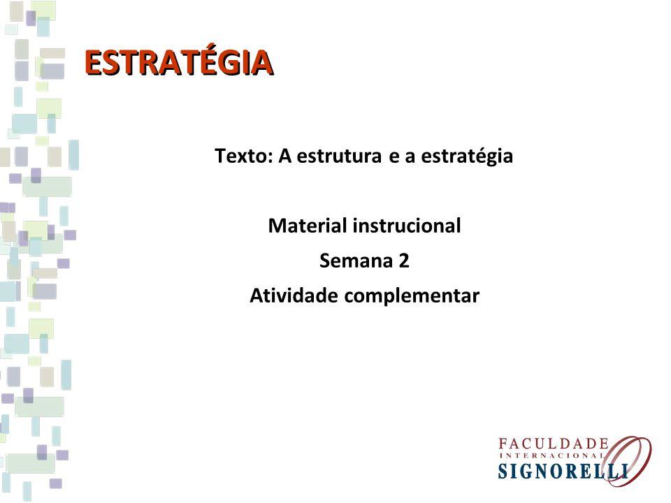 ESTRATÉGIA Texto: A estrutura e a estratégia Material instrucional Semana 2 Atividade complementar