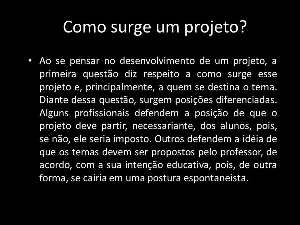 Como surge um projeto? Ao se pensar no desenvolvimento de um projeto, a primeira questão diz respeito a como surge esse projeto e, principalmente, a q