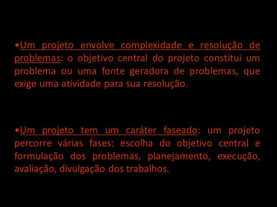 Um projeto envolve complexidade e resolução de problemas: o objetivo central do projeto constitui um problema ou uma fonte geradora de problemas, que