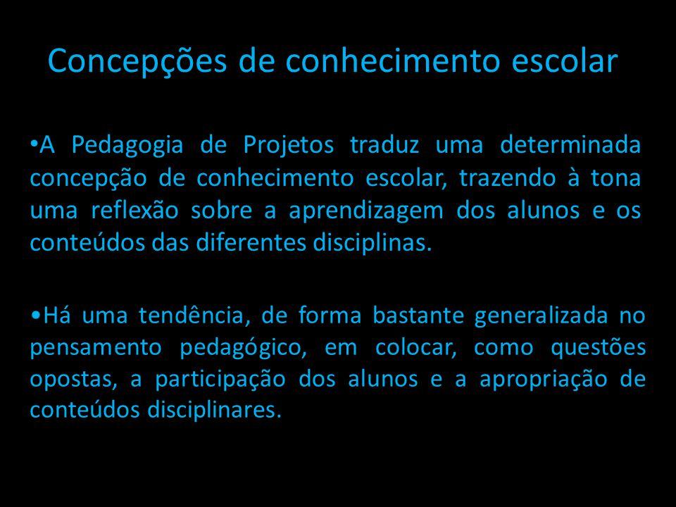 Concepções de conhecimento escolar A Pedagogia de Projetos traduz uma determinada concepção de conhecimento escolar, trazendo à tona uma reflexão sobr