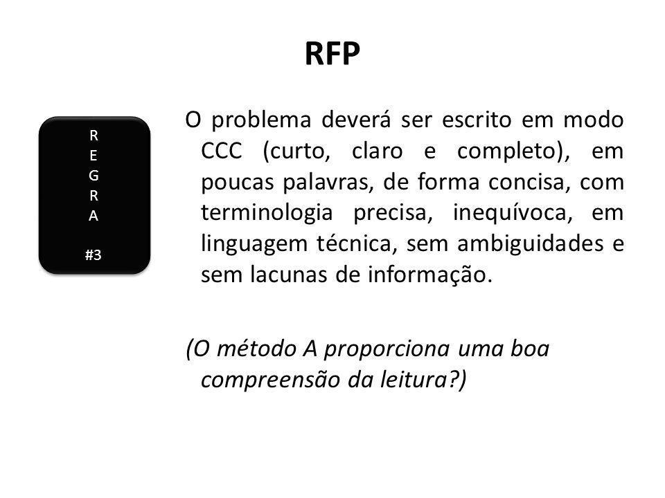 RFP O problema deverá ser escrito em modo CCC (curto, claro e completo), em poucas palavras, de forma concisa, com terminologia precisa, inequívoca, em linguagem técnica, sem ambiguidades e sem lacunas de informação.