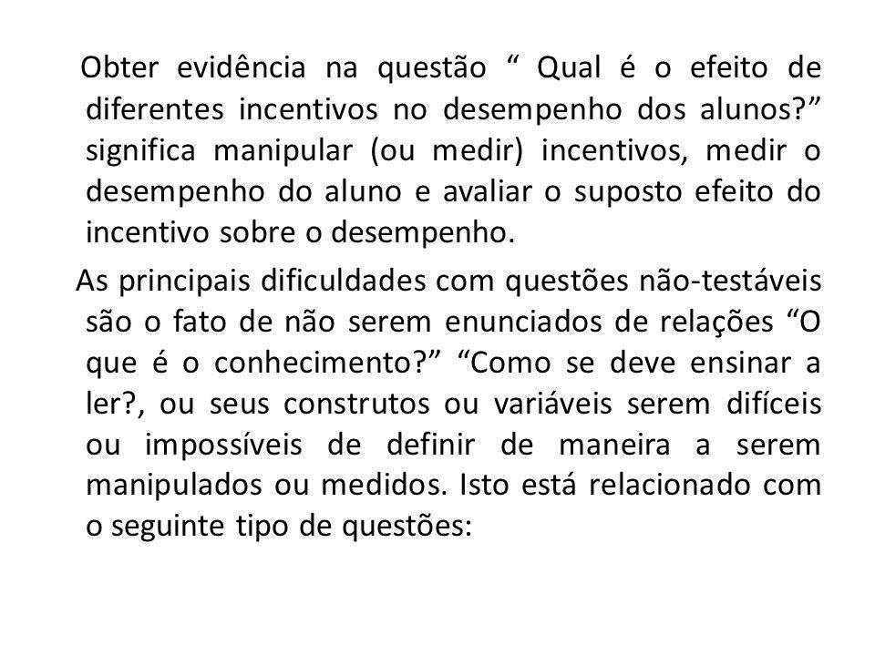 Obter evidência na questão Qual é o efeito de diferentes incentivos no desempenho dos alunos.