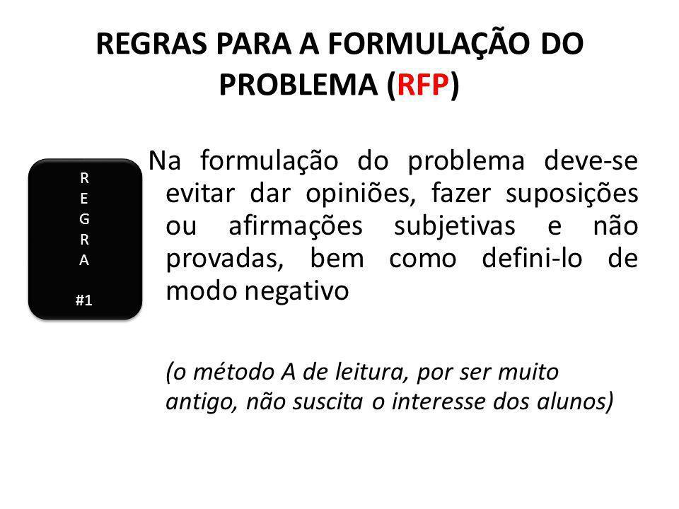 REGRAS PARA A FORMULAÇÃO DO PROBLEMA (RFP) Na formulação do problema deve-se evitar dar opiniões, fazer suposições ou afirmações subjetivas e não provadas, bem como defini-lo de modo negativo (o método A de leitura, por ser muito antigo, não suscita o interesse dos alunos) R E G R A #1 R E G R A #1
