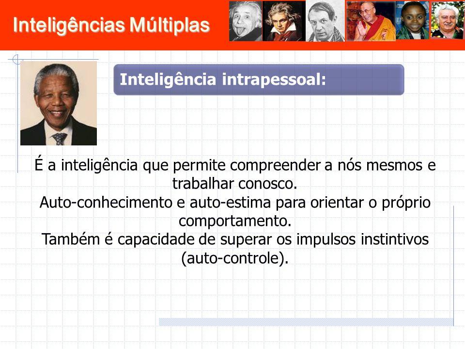 Inteligências Múltiplas É a inteligência que permite compreender a nós mesmos e trabalhar conosco. Auto-conhecimento e auto-estima para orientar o pró