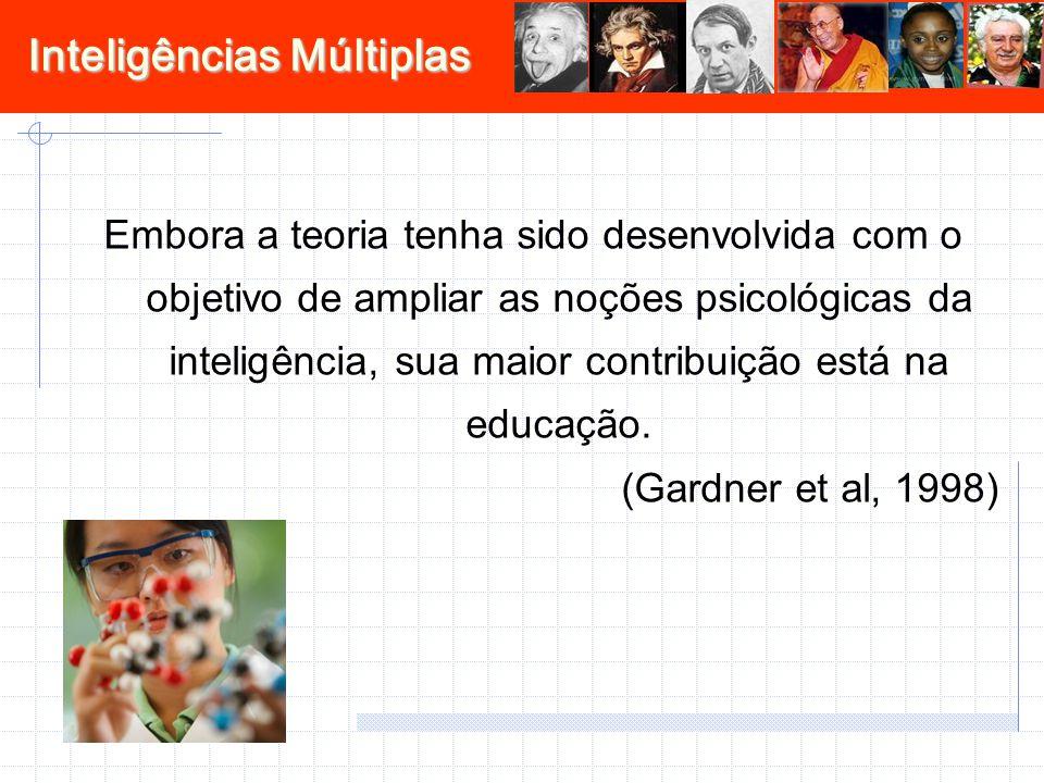 Inteligências Múltiplas Embora a teoria tenha sido desenvolvida com o objetivo de ampliar as noções psicológicas da inteligência, sua maior contribuiç