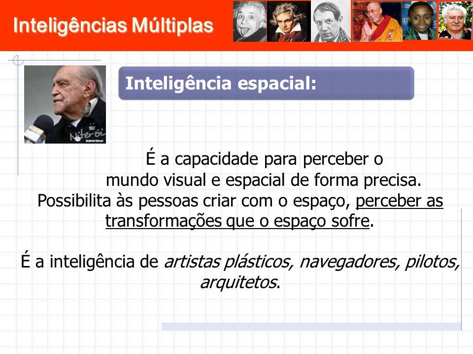 Inteligências Múltiplas É a capacidade para perceber o mundo visual e espacial de forma precisa. Possibilita às pessoas criar com o espaço, perceber a