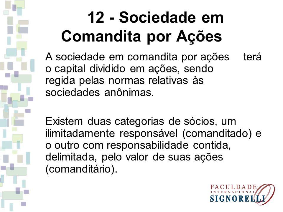 12 - Sociedade em Comandita por Ações A sociedade em comandita por ações terá o capital dividido em ações, sendo regida pelas normas relativas às soci