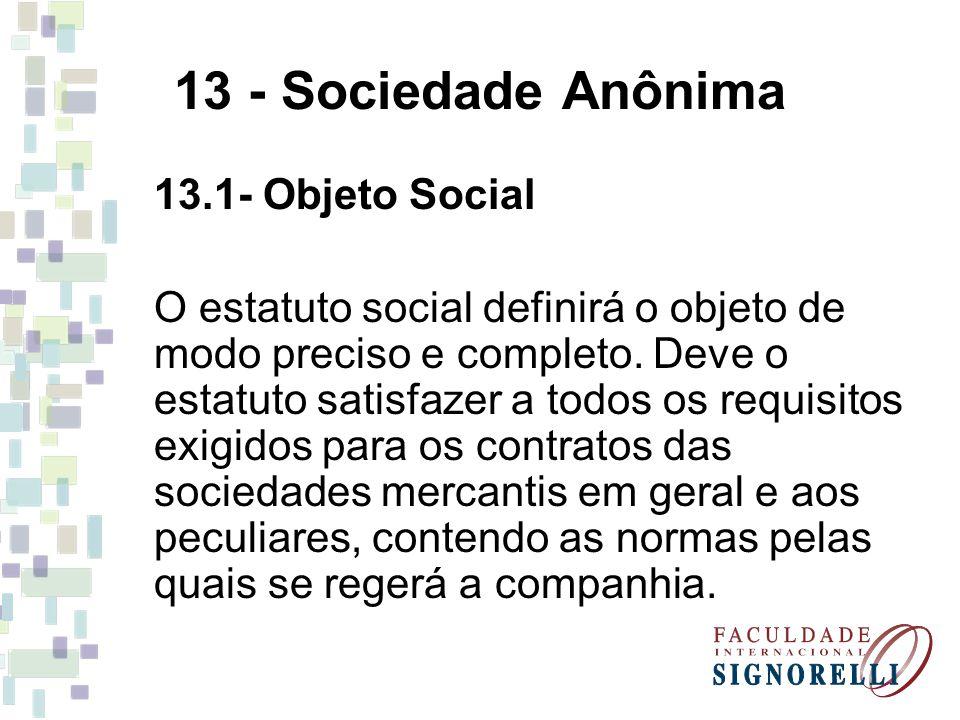 13 - Sociedade Anônima 13.1- Objeto Social O estatuto social definirá o objeto de modo preciso e completo. Deve o estatuto satisfazer a todos os requi