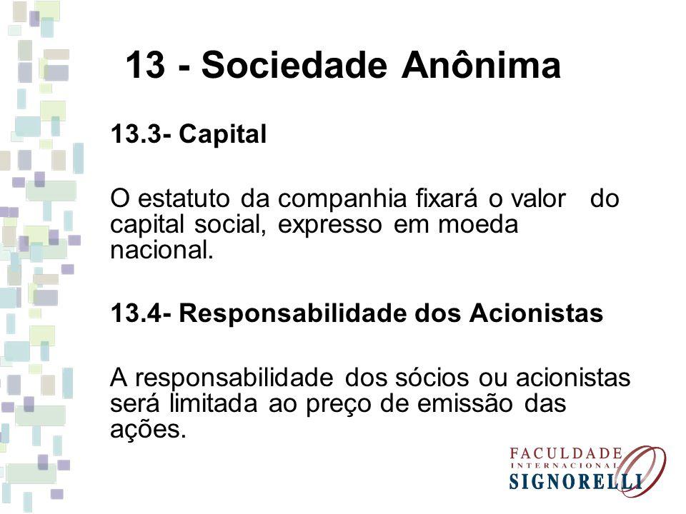 13 - Sociedade Anônima 13.3- Capital O estatuto da companhia fixará o valor do capital social, expresso em moeda nacional. 13.4- Responsabilidade dos