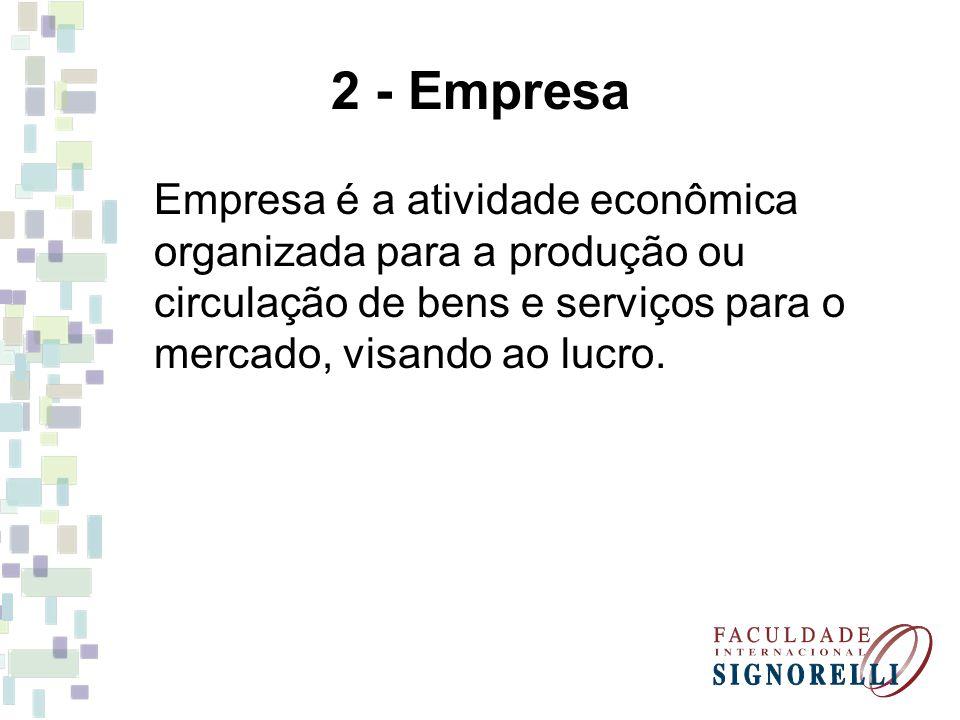 2 - Empresa Empresa é a atividade econômica organizada para a produção ou circulação de bens e serviços para o mercado, visando ao lucro.