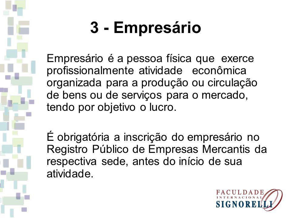 3 - Empresário Empresário é a pessoa física que exerce profissionalmente atividade econômica organizada para a produção ou circulação de bens ou de se