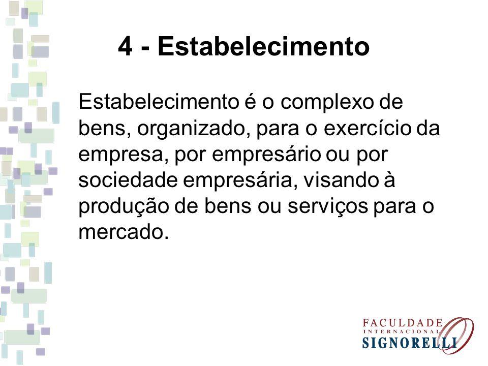 4 - Estabelecimento Estabelecimento é o complexo de bens, organizado, para o exercício da empresa, por empresário ou por sociedade empresária, visando