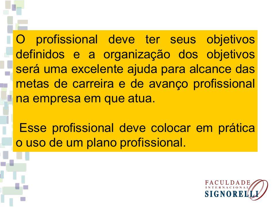 O profissional deve ter seus objetivos definidos e a organização dos objetivos será uma excelente ajuda para alcance das metas de carreira e de avanço