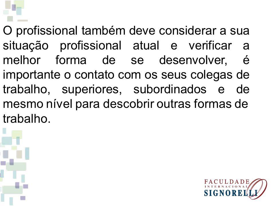 O profissional também deve considerar a sua situação profissional atual e verificar a melhor forma de se desenvolver, é importante o contato com os se