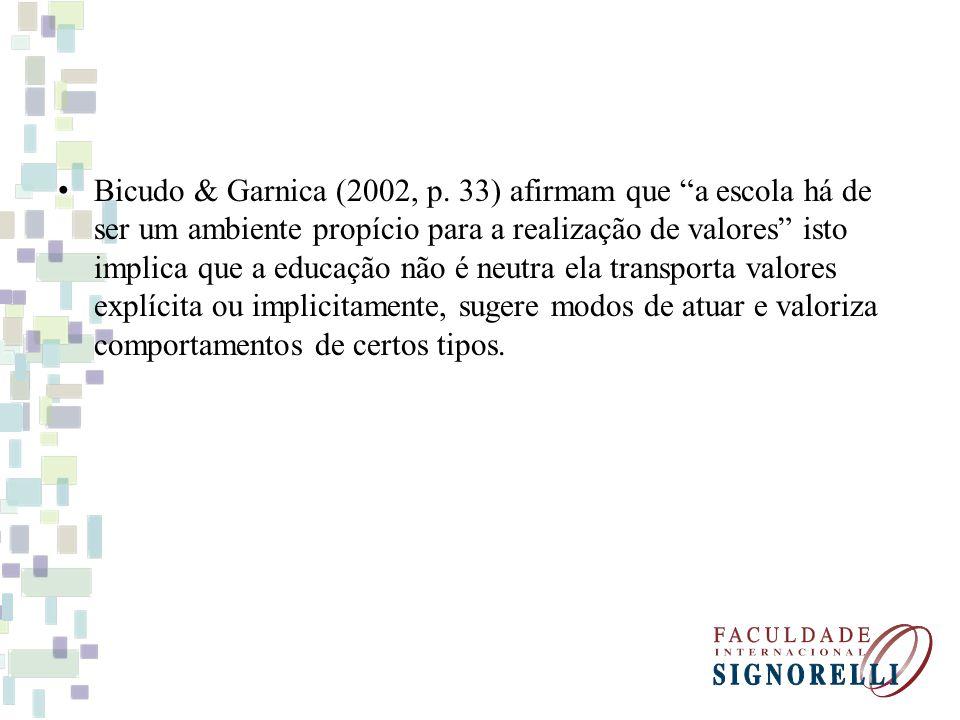 Bicudo & Garnica (2002, p. 33) afirmam que a escola há de ser um ambiente propício para a realização de valores isto implica que a educação não é neut