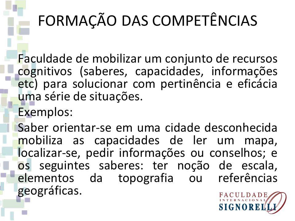 FORMAÇÃO DAS COMPETÊNCIAS Faculdade de mobilizar um conjunto de recursos cognitivos (saberes, capacidades, informações etc) para solucionar com pertin