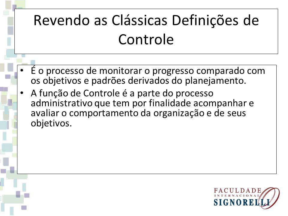 Revendo as Clássicas Definições de Controle É o processo de monitorar o progresso comparado com os objetivos e padrões derivados do planejamento. A fu