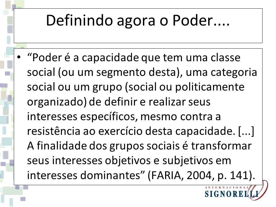 Definindo agora o Poder.... Poder é a capacidade que tem uma classe social (ou um segmento desta), uma categoria social ou um grupo (social ou politic