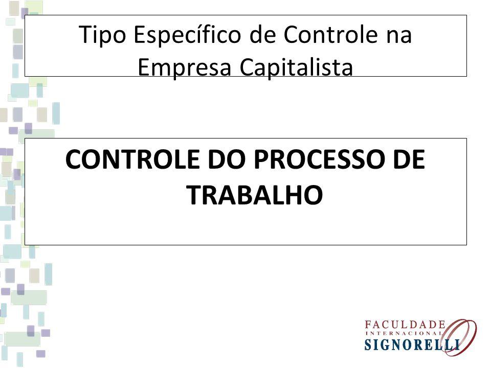Tipo Específico de Controle na Empresa Capitalista CONTROLE DO PROCESSO DE TRABALHO