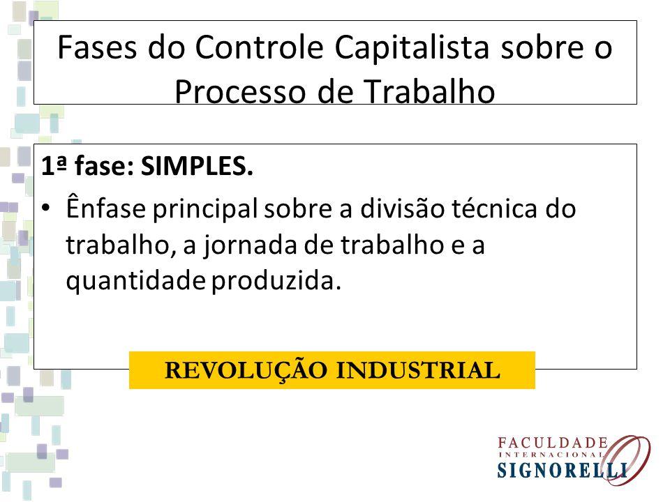 Fases do Controle Capitalista sobre o Processo de Trabalho 1ª fase: SIMPLES. Ênfase principal sobre a divisão técnica do trabalho, a jornada de trabal
