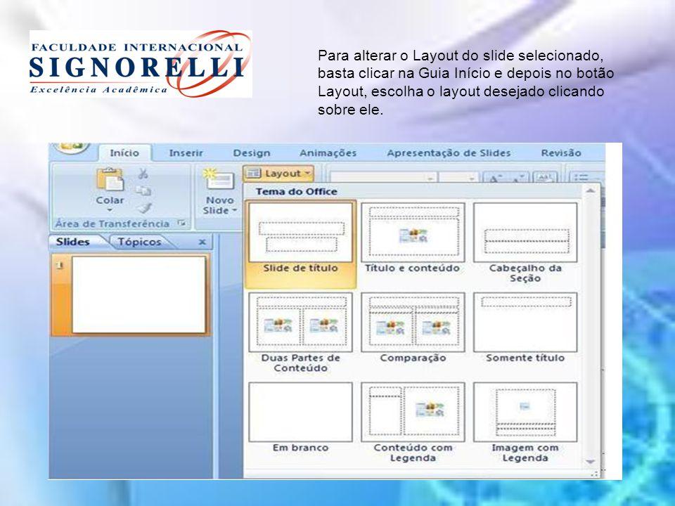 Para alterar o Layout do slide selecionado, basta clicar na Guia Início e depois no botão Layout, escolha o layout desejado clicando sobre ele.